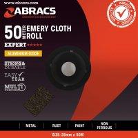 ABRACS EMERY CLOTH ALUMINIUM OXIDE 25MMX50 METRE K120 (1PC)